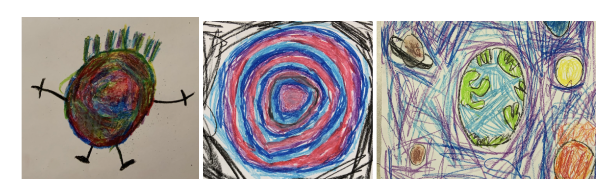 Three pencil-crayon drawings of dots. One with a messy mix of colours, the other with alternating red and blue rings and the third is a drawing of the earth, surrounded by other planets.