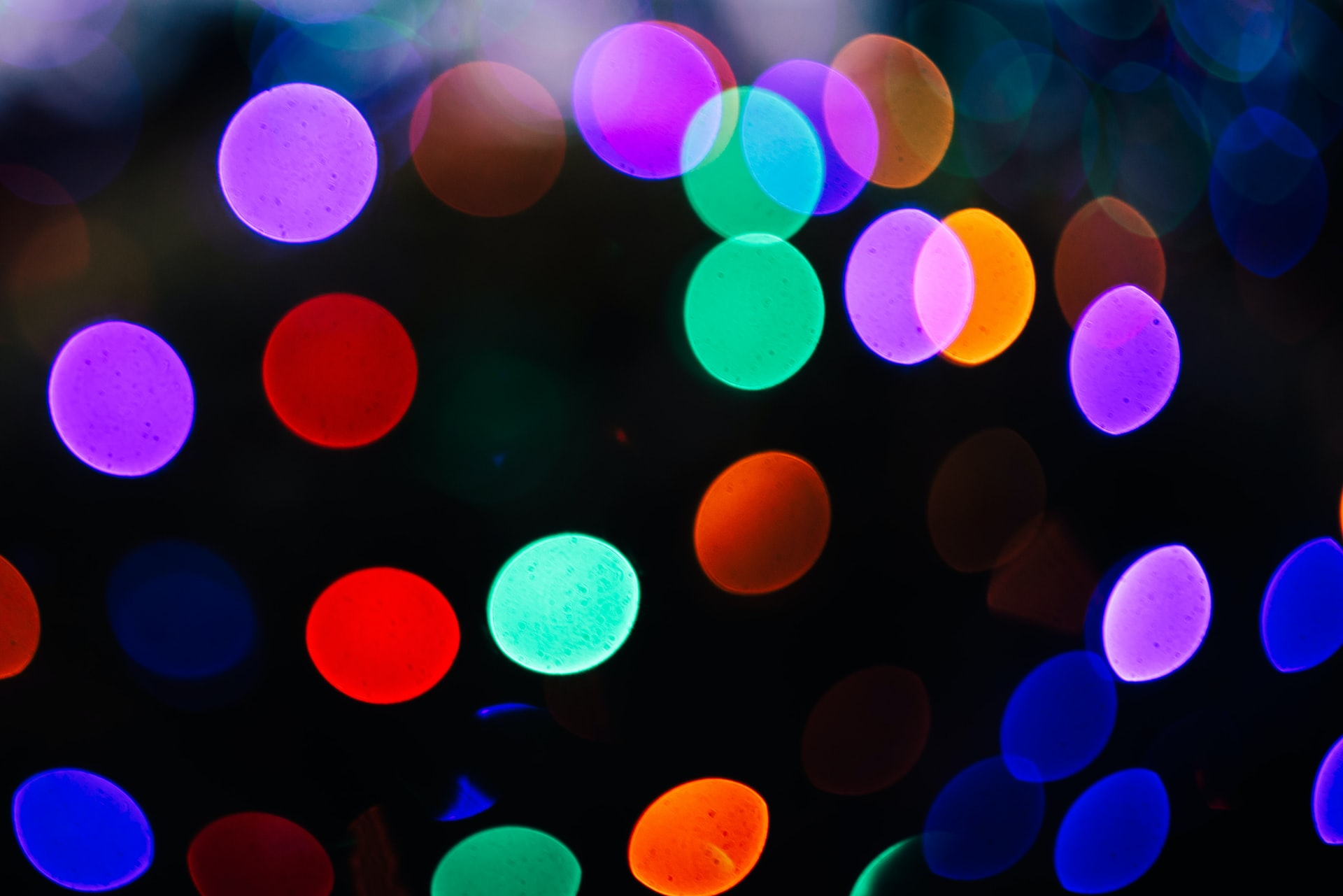 Photograph of blurry, colourful dots.
